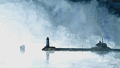 Lakefront Painting - Passing Storm - Duluth Harbor by William Beaupre