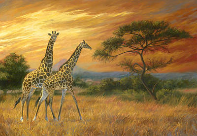 Giraffe Painting - Passing Through by Lucie Bilodeau