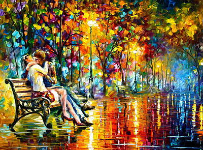 Benches Painting - Passion Evening -  New by Leonid Afremov
