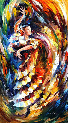 Passionate Flamenco - Palette Knife Figure Oil Painting On Canvas By Leonid Afremov Original by Leonid Afremov