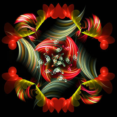 Abstract Hearts Digital Art - Passionate Love Bouquet Abstract by Georgiana Romanovna