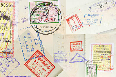 Paper Photograph - Passport Stamps Background by Tim Hester