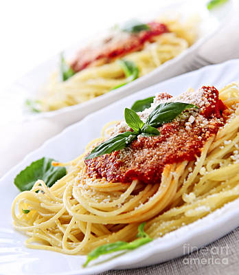 Traditional Photograph - Pasta And Tomato Sauce by Elena Elisseeva