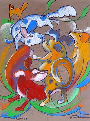 Puppy Mixed Media - Pastel 69 - Dog Play by Steve Emery