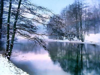 Winter-landscape Digital Art - Pastel Pond by Jessica Jenney