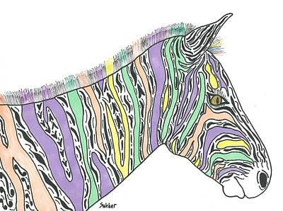 Pastel Zebra  Print by Susie Weber