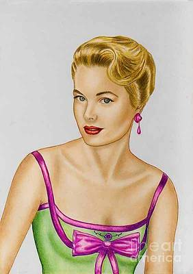 Pastels Paintings The Portrait Of Grace Kelly  Original by Luigi Carlo