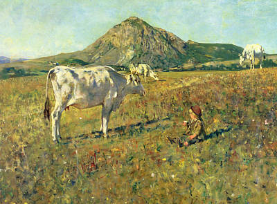 Cow Boy Painting - Pasture In Pietramala by Telemaco Signorini