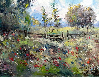 Pasture With Fence Print by Lee Piper