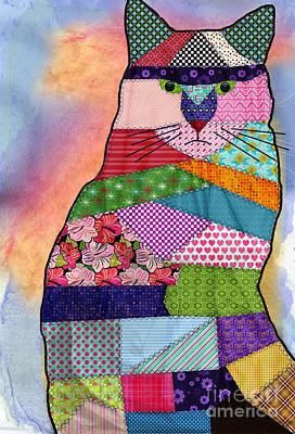 Textiles Photograph - Patchwork Kitty by Juli Scalzi