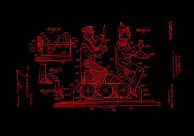 Wheel Digital Art - Patent Art 1920 Toy Display Red by Lesa Fine