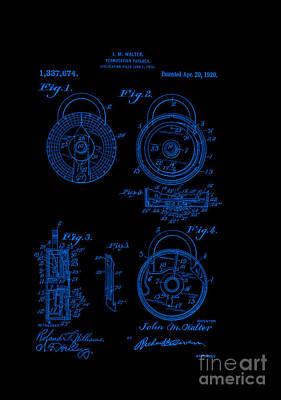 Retro Digital Art - Patent Art 1920 Walter Padlock Blue by Lesa Fine