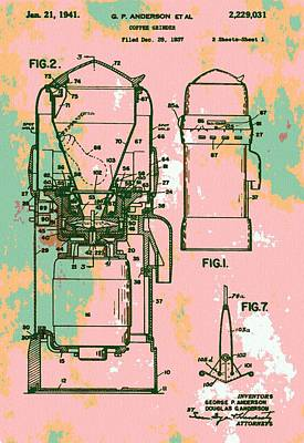 Patent Art Coffee Grinder Print by Dan Sproul