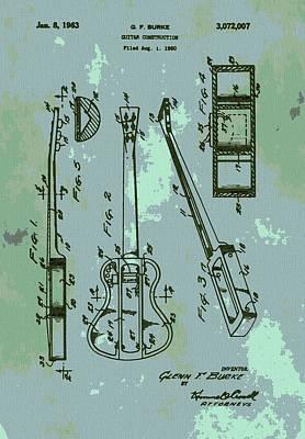 Chord Mixed Media - Patent Art Guitar by Dan Sproul