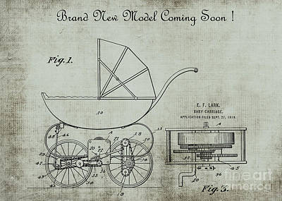 Patent Art Lark Baby Carriage 1920 Invite 2 Print by Lesa Fine