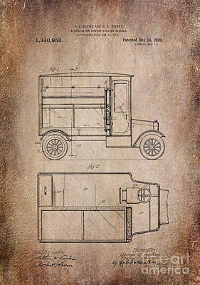 Vintage Photograph - Patent Art Refrigerator Truck I Antique by Lesa Fine