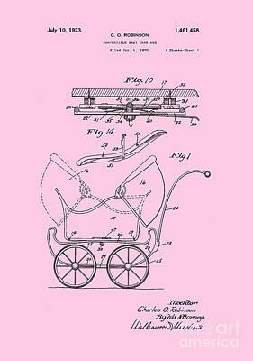 Retro Digital Art - Patent Art Robinson Baby Carriage Pink by Lesa Fine