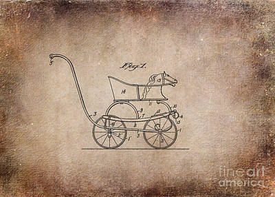Retro Digital Art - Patent Baby Carriage 1921 Smith Crop Aged by Lesa Fine