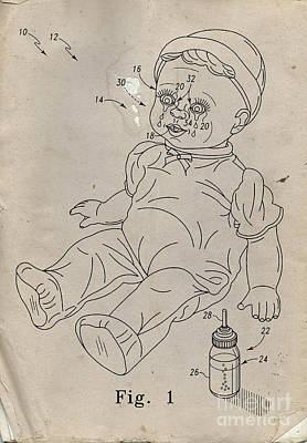 Tears Drawing - Patent For Crying Baby Doll by Edward Fielding