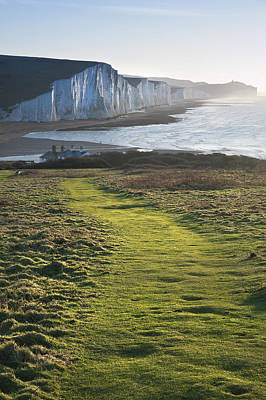 Path Along Seaford Head Towards Seven Sisters Print by Matthew Gibson