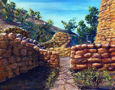 Rock Painting - Path At Old Mission by Lenora  De Lude
