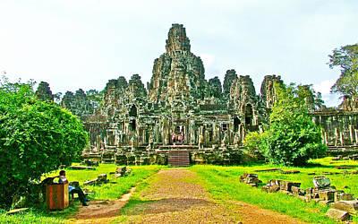 Angkor Digital Art - Path To The Bayon In Angkor Thom Built In 1181-1218 By King Javavarman Vii-cambodia by Ruth Hager