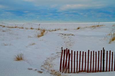 Winter Beach In Saint Joseph Michigan Print by Dan Sproul