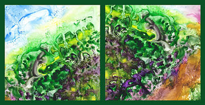 Path To The Unknown Diptych In Green Print by Irina Sztukowski