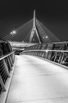 Path To The Zakim Bridge Bw Print by Susan Candelario