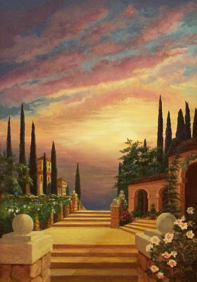 Patio Il Tramonto Or Patio At Sunset Print by Evie Cook