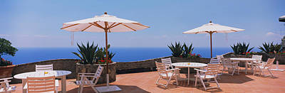 Patio Umbrellas In A Cafe, Positano Print by Panoramic Images