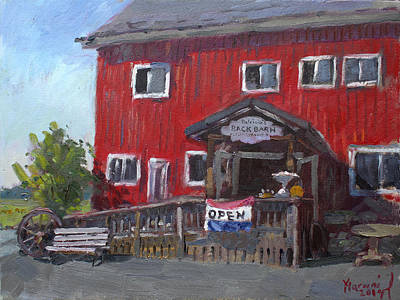 Red Barns Painting - Patricia's Back Barn by Ylli Haruni