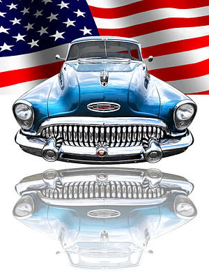 Patriotic Buick Riviera 1953 Print by Gill Billington