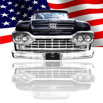 Patriotic Ford F100 1960 Print by Gill Billington