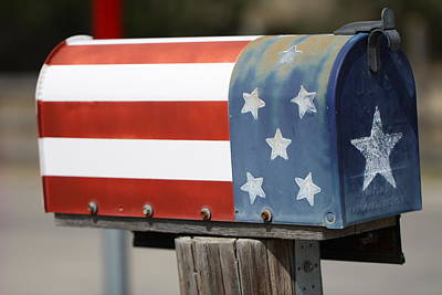 Mail Box Photograph - Patriotic Mail Box by Terry Fleckney