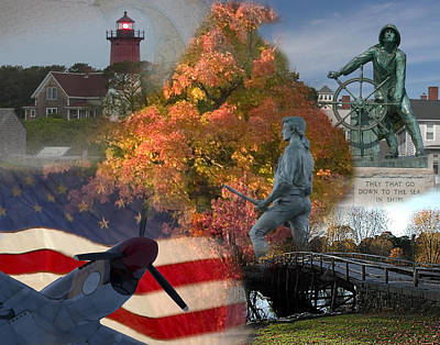 Patriotic Massachusetts Print by Jeff Folger