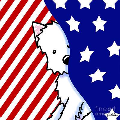 Westie Digital Art - Patriotic Peekaboo Westie by Kim Niles