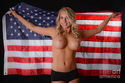 Patriotic Sexy Woman  Print by Jt PhotoDesign