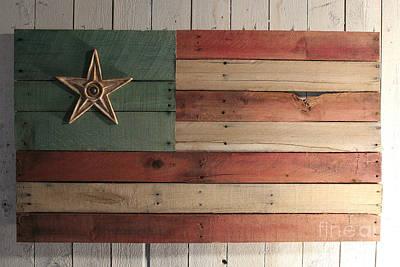 Wood Pallet Flag Sculpture - Patriotic Wood Flag by John Turek
