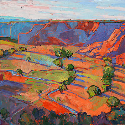 Canyon Painting - Patterns In Triptych - Center Panel by Erin Hanson