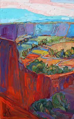 Canyon Painting - Patterns In Triptych - Left Panel by Erin Hanson