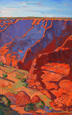 Canyon Painting - Patterns In Triptych - Right Panel by Erin Hanson