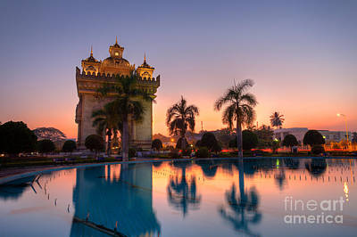 Patuxai Photograph - Patuxai In Vientiane Laos by Fototrav Print