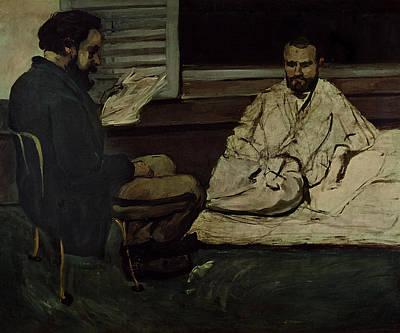 Paul Alexis 1847-1901 Reading A Manuscript To Emile Zola 1840-1902 1869-70 Oil On Canvas Print by Paul Cezanne
