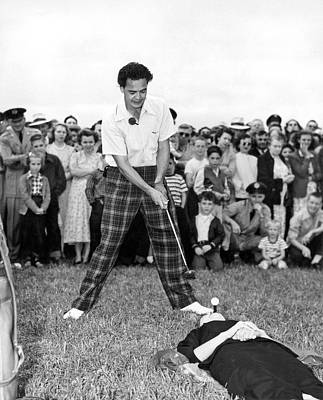 Paul Hahn Golf Stunt Shot Print by Underwood Archives