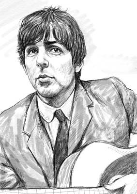 Ringo Starr Drawing - Paul Mccartney Art Drawing Sketch Portrait by Kim Wang