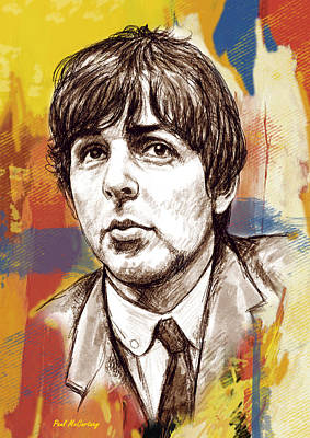 Paul Mccartney Mixed Media - Paul Mccartny Stylised Pop Art Drawing Potrait Poser by Kim Wang