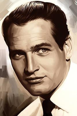 Paul Newman Artwork 1 Print by Sheraz A