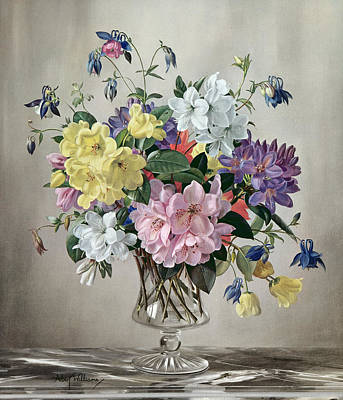 Rhododendrons, Azaleas And Columbine In A Glass Vase Print by Albert Williams