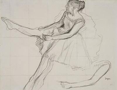 Dancer Adjusting Her Tights Print by Edgar Degas